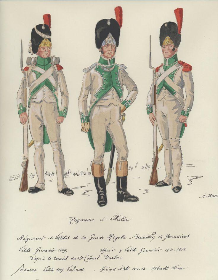Italy; Velites of the Royal Guard. Grenadier Batalion. L to R Velite Grenadier 1809, Velte Grenadier Officer 1811-12 & Velite Grenadier 1811-12, by BOISSELIER.