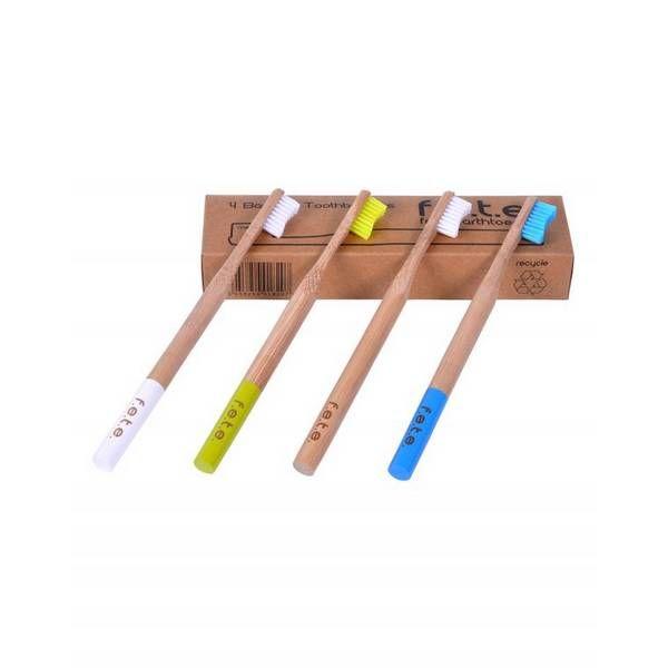 Boite De 4 Brosses A Dent En Bambou Medium Brosse A Dent Dents Bambou