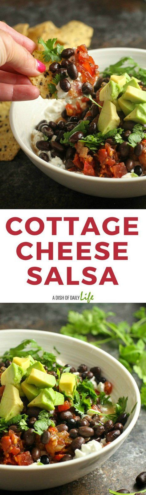 Cottage Cheese Salsa...this easy and delicious protein packed snack is the perfect post workout snack or healthy lunch! Serve it with multigrain chips or crackers, or eat it with a spoon! Sponsored by @Hphood