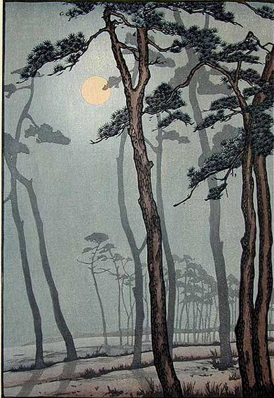 Frank Brangwyn - Moonlight, Bournemouth    Colour woodcut