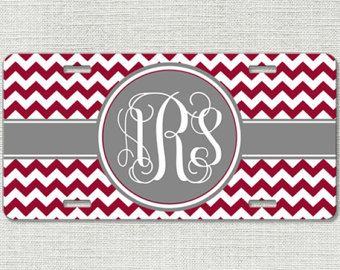 Custom Personalized License Plate Car Tag Monogrammed