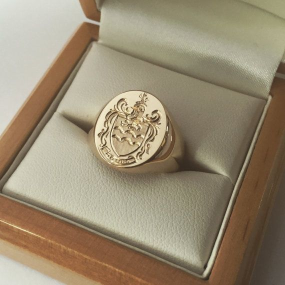 Silver or Gold Hand Engraved Signet Ring With Your Family Crest or Coat of Arms- with the Roe family crest size 5.25