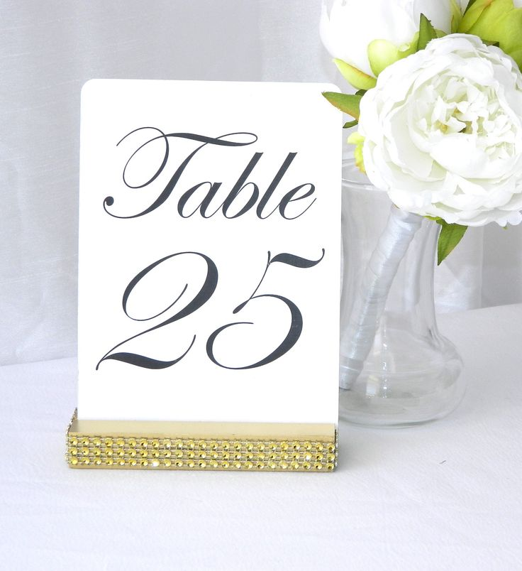 Gold Wedding Table Number Holder with a rhinestone wrap (5 inch)