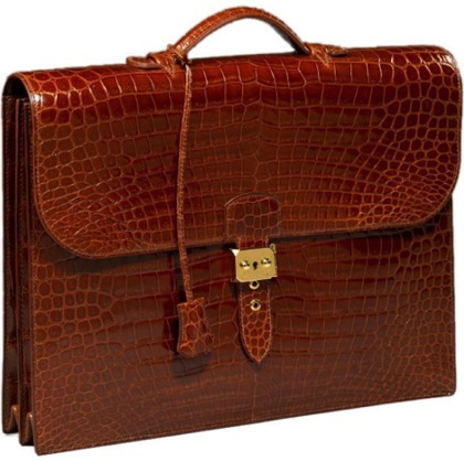 Hermes Alligator Briefcase Briefcase Leather