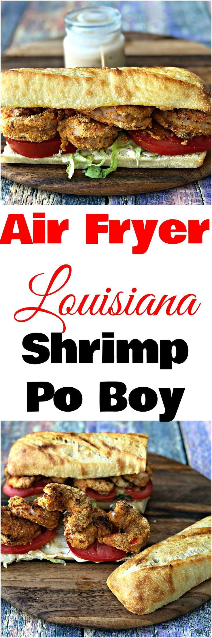 Air Fryer Fried Louisiana Shrimp Po Boy with Remoulade Sauce is a quick and easy low-fat recipe with air fryer shrimp and New Orleans Creole seasoning. #AirFryer #AirFryerRecipes #Shrimp #ShrimpRecipes #LouisianaFood #CreoleFood