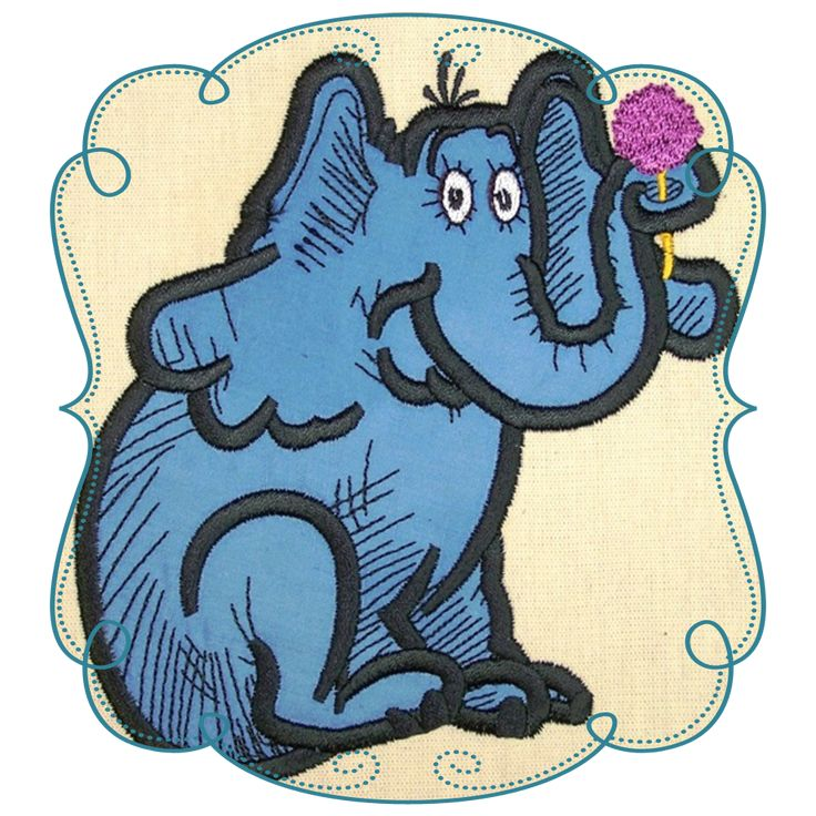 Dr Seuss Elephant Applique