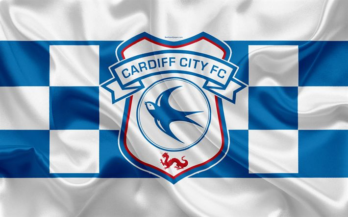 Download wallpapers Cardiff City FC, silk flag, emblem, logo, 4k, Cardiff, UK, English football club, Football League Championship, Second League, football