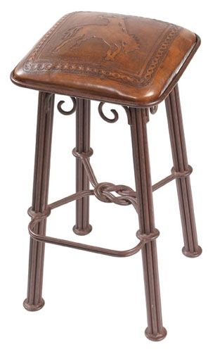 Colonial Western Counter Stool w Wrought Iron Base Hand Tooled