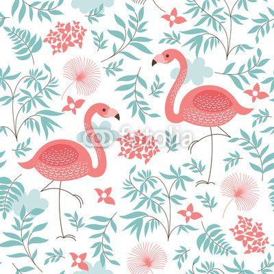 papier peint pour SDB  seamless, avec un flamant rose