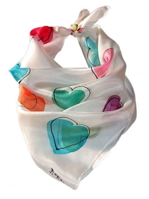 Színes #Szerelem kendő, borodesign, meska.hu #heart #valentin #kerchief