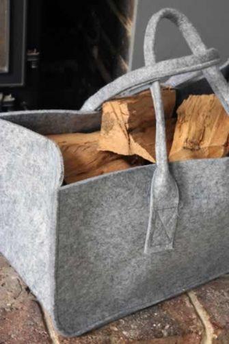 Magazine Or Log Storage Basket - Grey Felt