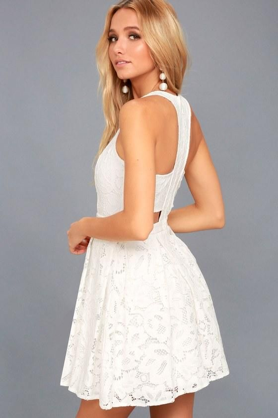 AdoreWe  Lulus Womens - Lulus Daisy Date White Lace Skater Dress -  AdoreWe.com ecdd62596