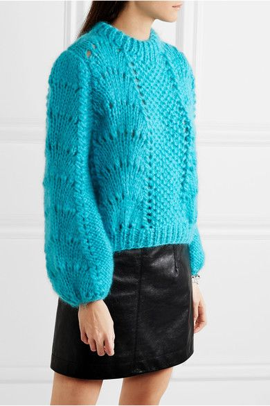 Teal mohair and wool-blend Slips on 50% mohair, 50% wool Dry clean Designer color: Cyan Blue Made in Italy