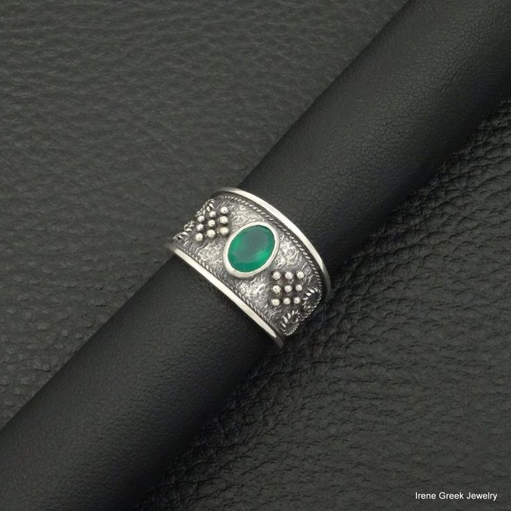 NATURAL GREEN ONYX BYZANTINE STYLE 925 STERLING SILVER GREEK HANDMADE ART RING #IreneGrekJewelry #Band