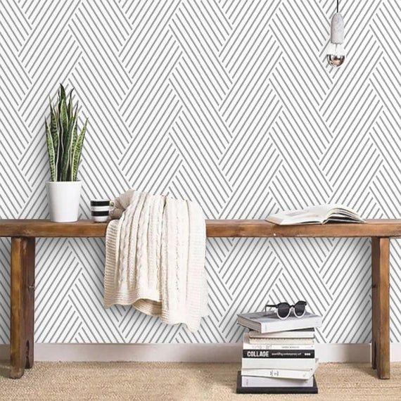 Peel And Stick Wallpaper Minimalist Removable Wallpaper Mural Herringbone Self Adhesive Custom Wallp In 2021 Peel And Stick Wallpaper Wallpaper Accent Wall Accent Wall