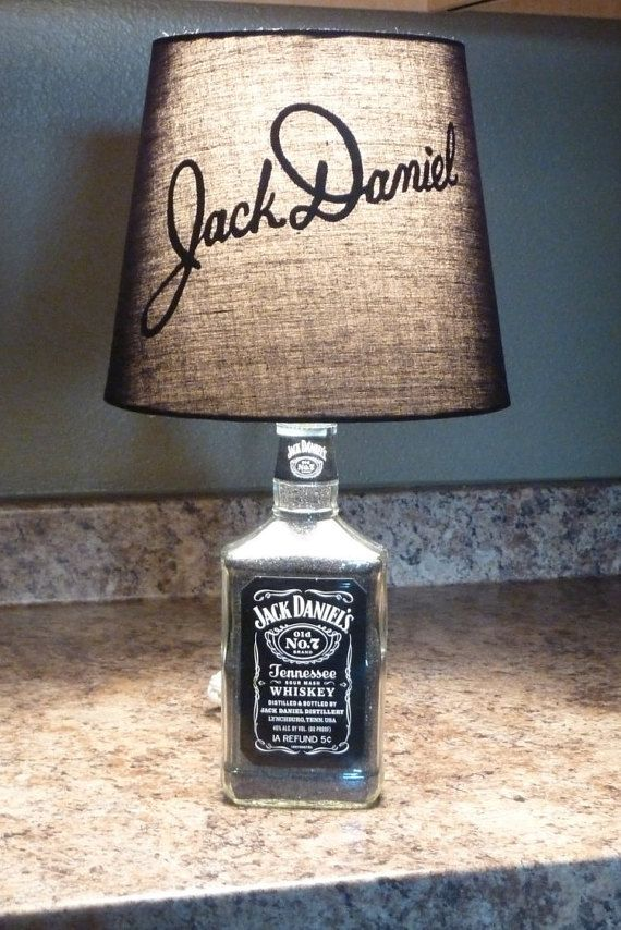 Jack Daniels Lamp with Custom Hand Painted Signature Logo Shade