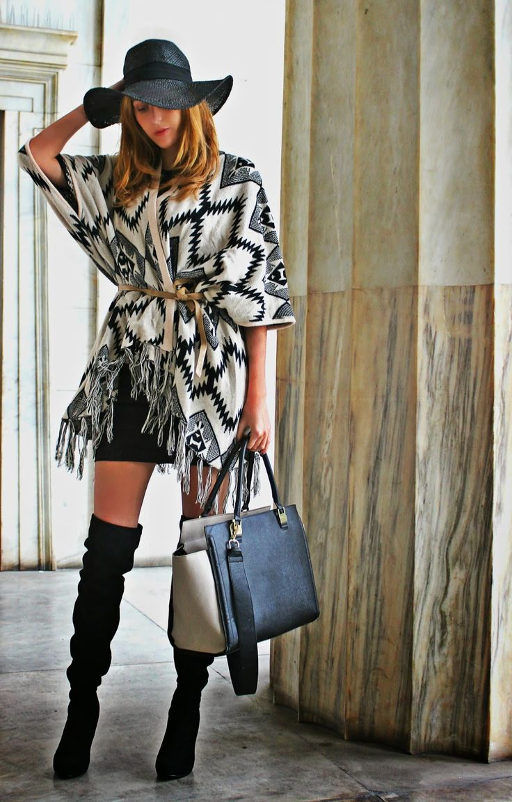Shop this look on Lookastic:  http://lookastic.com/women/looks/open-cardigan-bodycon-dress-over-the-knee-boots-tote-bag-hat/6347  — White and Black Chevron Open Cardigan  — Black Bodycon Dress  — Black Suede Over The Knee Boots  — Black Leather Tote Bag  — Black Straw Hat