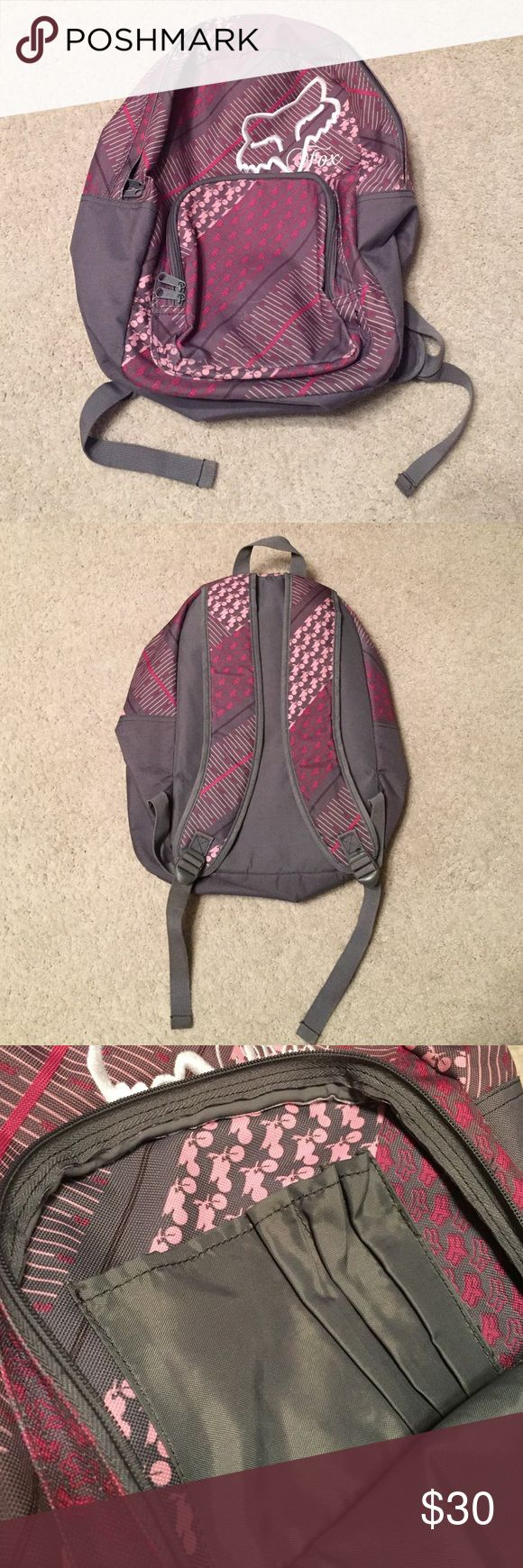 Fox Riders backpack Excellent condition! No signs of wear or tear. Very lightly used. Great for middle/high school girls! Grey on back, sides and lining. Printed on front and straps. Slots for pencils, pens, etc. in front pocket! Very roomy and stylish! No trades Fox Racing Bags Backpacks