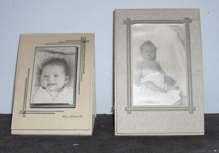 Vintage Photos  Lot of Two Baby Pictures in Folders