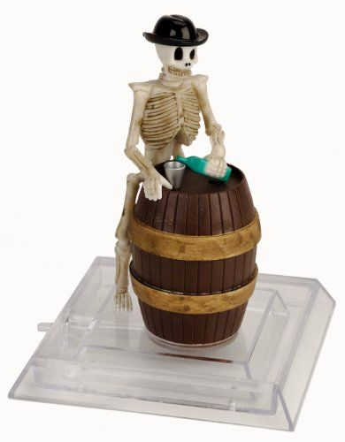 skeleton in a barrell