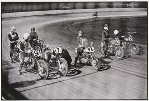 Vintage Flat Track Racing - Danny Lyon. Sante Fe track, Chicago , 1965 (printed later).