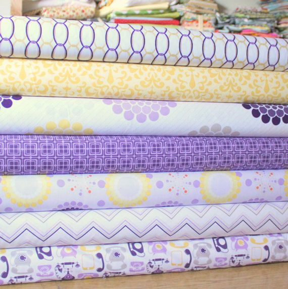 Purple Yellow and Gray Floral Geometric Fabric, Ashbury Heights By Doohikey Designs For Riley Blake, Half Yard Bundle, 3 1/2 Yards Total