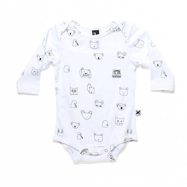 Minti Baby Animal Friends Ls Onepiece White