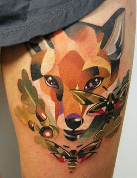 Watercolor fox head tattoo by Sasha Unisex