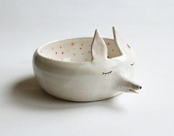 Edward the fox  sweet ceramic bowl with polka dots by clayopera