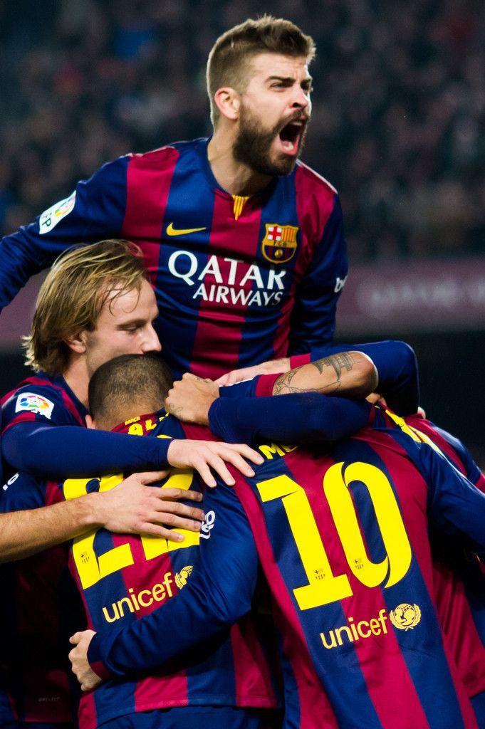 Gerard Pique (top) of FC Barcelona