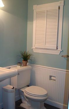 "Love the beadboard! Love the shuttters on the inside & the ""built in"" toilet tissue Small bathroom remodel 
