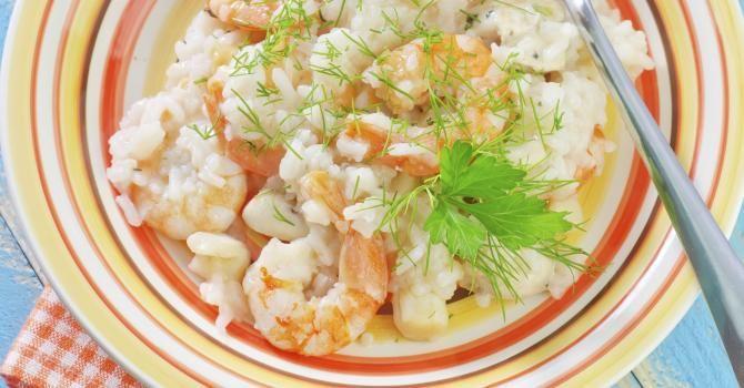 Recette de Risotto léger aux crevettes, lait de coco et citron vert. Facile et rapide à réaliser, goûteuse et diététique.