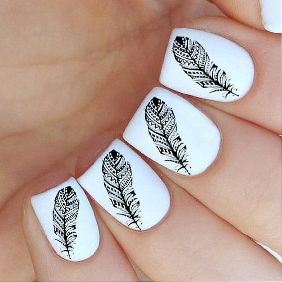 Feather Nail Decal by MilieNailsCreation on Etsy