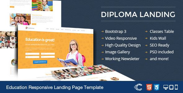 Diploma - Education Bootstrap Responsive Landing
