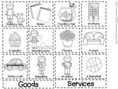 Goods and Services Sort FREEBIE! Perfect for Kindergarten or First Grade!