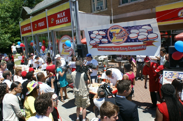 •It's like a free show, with free food: Z-Burger in Tenleytown holds its annual burger eating contest at noon July 3. Immediately following the contest, all spectators will get free food (one burger, order of fries and soft drink per person) until 2 p.m. Last year's contest winner ate a burp-a-licious 17 burgers in just 10 minutes.