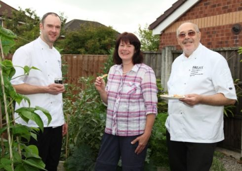 Philippa James visits #FatJax, makers of #chutneys and #relishes in Bamber Bridge, pictured Robert Weekes, Philippa James and Paul Ainscough.
