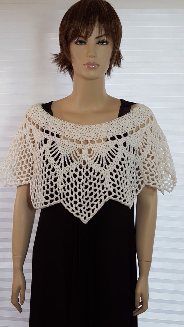 Crochet White Poncho Capelet in Unique Star Shape - Women's Medium Size - Great for Wedding, Party, Cruise, Beach by GreatCrochet on Etsy