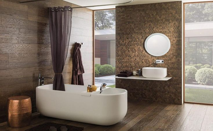 Porcelanosa Chelsea Bathroom:  A neo-retro bathroom with a freestanding bathtub | @porcelanosa
