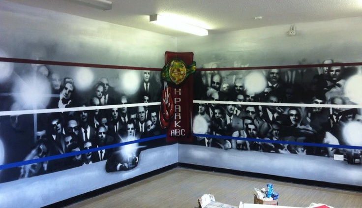 Boxing club graffiti mural hand painted boxing ring and for Club joven mural