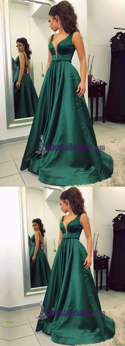 Sexy Spaghetti Straps Simple Sweetheart Long Emerald Green Satin Prom Dresses, Party Evening dress, PD0655