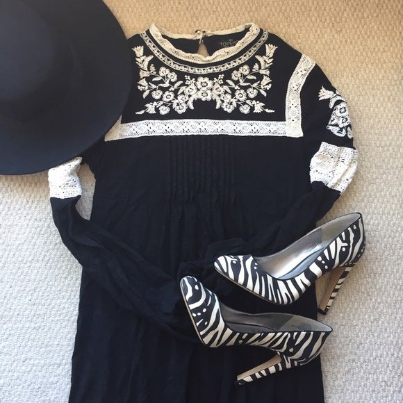 Topshop Dresses & Skirts - Topshop Tall Embroidered Smock Dress