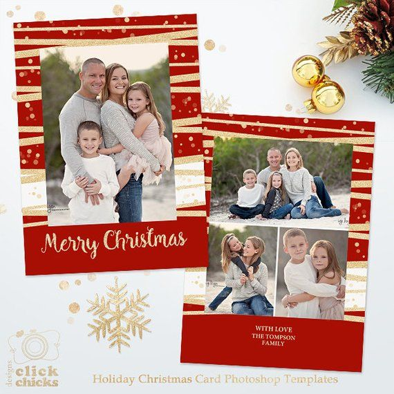 Holiday Christmas Card Template For Photographers 5x7 Photo Etsy Christmas Card Template Photo Card Template Christmas Card Photoshop