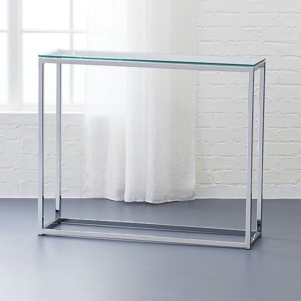 smart glass top console table    CB2