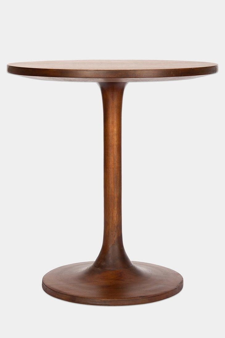 Turner Side Table - perfect size for sofa side table, wood makes look more traditional, shape is modern