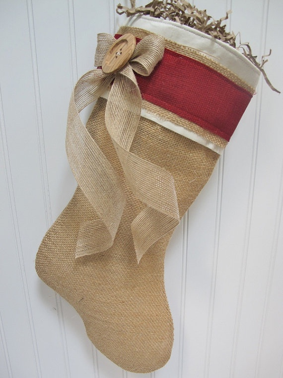 Burlap Christmas Stocking by TurnbowDesigns on Etsy, $30.00