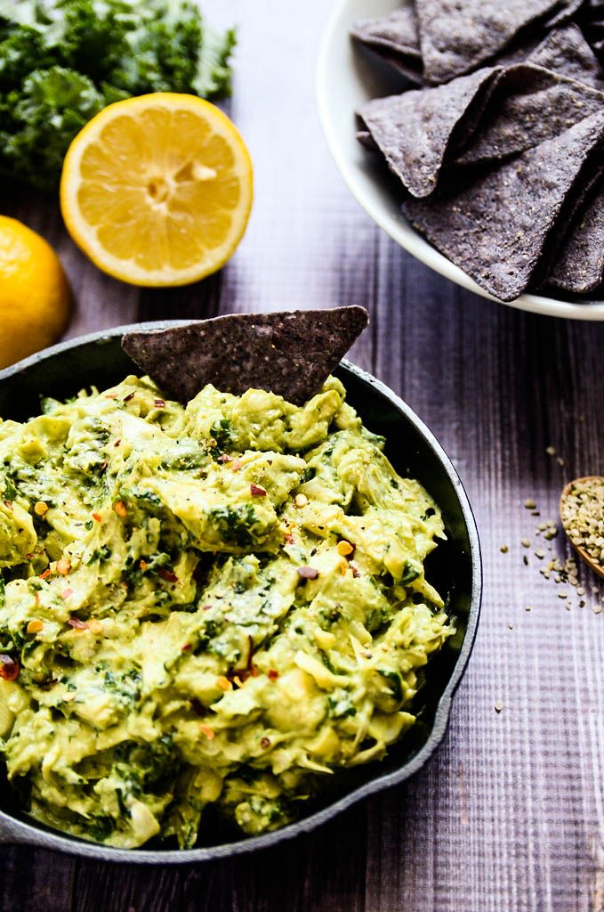 Creamy Avocado Artichoke + Kale Dip-- Looks delicious, nutrient-packed and easy!! Can't wait to try this.