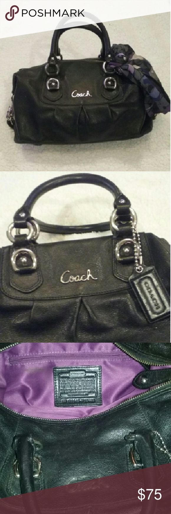 Black Authentic Coach Purse Black leather Coach purse. Great condition. Clean inside. Coach scarf was added to it so optional. Coach Bags Satchels
