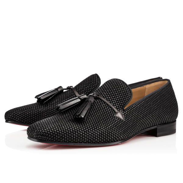 Christian Louboutin Daddy Flat Black Rafia Mens-Loafers
