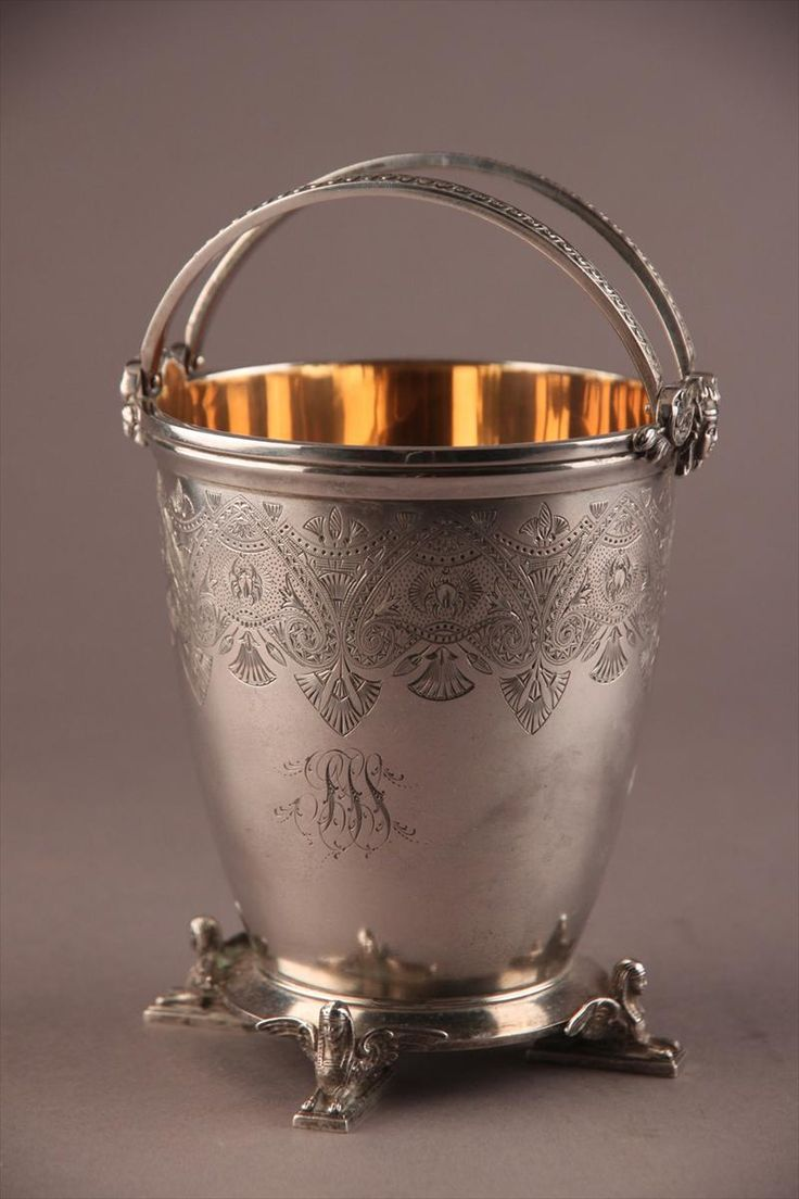 Sugar basket from Gorham sterling silver Egyptian Revival style Union Pacific RR Presentation Silver Service   c1875